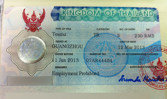 Visa thai depuis la Chine
